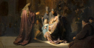 Selection of Simeon in the Temple, by Rembrandt van Rijn, 1631
