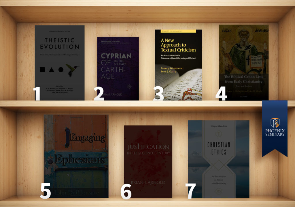 A New Approach to Textual Criticism by Peter Gurry and Tommy Wasserman on a bookshelf